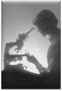 girl and microscope